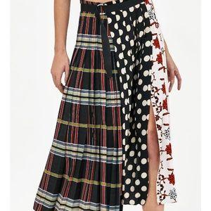 Zara Skirts - Zara patchwork print pleated skirt